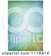 Clipart Of A Crinkled Pastel Green And Blue Paper Background With Faint Vines Royalty Free CGI Illustration