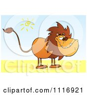 Clipart Of A Lion With A Lazy Grin Royalty Free Vector Illustration by Hit Toon