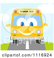 Clipart Of A Happy School Bus Driving Royalty Free Vector Illustration by Hit Toon