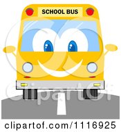Clipart Of A Happy School Bus On A Road Royalty Free Vector Illustration by Hit Toon