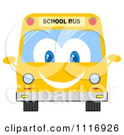 Clipart Of A Happy School Bus Royalty Free Vector Illustration by Hit Toon
