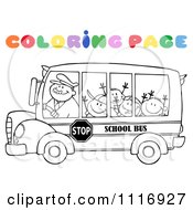 Clipart Of A Coloring Page Happy School Bus Driver And Children Royalty Free Vector Illustration by Hit Toon