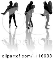 Vector Clipart Of Black And Gray Lover Silhouettes And Reflections Royalty Free Graphic Illustration