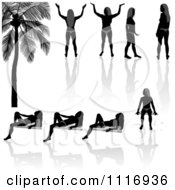 Black And Gray Bikini Women Silhouettes And Reflections