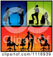 Poster, Art Print Of Business Men And Women Silhouettes With Blue Green And Orange Backgrounds