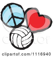 Cartoon Of Peace Love Volleyball Graphics Royalty Free Vector Clipart by Johnny Sajem