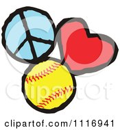 Cartoon Of Peace Love Softball Graphics Royalty Free Vector Clipart by Johnny Sajem