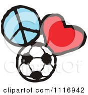 Cartoon Of Peace Love Soccer Graphics Royalty Free Vector Clipart by Johnny Sajem