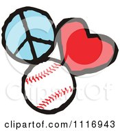 Cartoon Of Peace Love Baseball Graphics Royalty Free Vector Clipart by Johnny Sajem