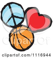 Cartoon Of Peace Love Basketball Graphics Royalty Free Vector Clipart by Johnny Sajem