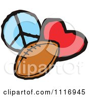 Cartoon Of Peace Love Football Graphics Royalty Free Vector Clipart by Johnny Sajem