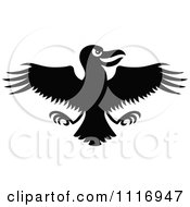 Cartoon Of A Black Evil Flying Crow Royalty Free Vector Clipart