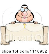 Vector Cartoon Happy Nun Over A Banner Royalty Free Clipart Graphic by Cory Thoman
