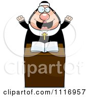 Vector Cartoon Happy Nun At The Pulpit In Her Habit Royalty Free Clipart Graphic by Cory Thoman