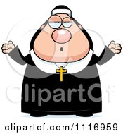 Vector Cartoon Careless Shrugging Nun In Her Habit Royalty Free Clipart Graphic