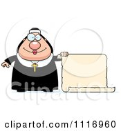 Vector Cartoon Nun In Her Habit By A Scroll Sign Royalty Free Clipart Graphic by Cory Thoman