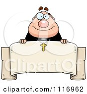 Vector Cartoon Happy Priest Over A Banner Royalty Free Clipart Graphic