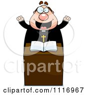 Vector Cartoon Excited Priest At The Pulpit Royalty Free Clipart Graphic by Cory Thoman