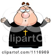 Vector Cartoon Careless Shrugging Priest Royalty Free Clipart Graphic