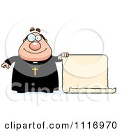 Vector Cartoon Priest Holding A Scroll Sign Royalty Free Clipart Graphic by Cory Thoman