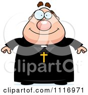 Vector Cartoon Happy Priest Royalty Free Clipart Graphic