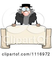 Vector Cartoon Rabbi Over A Banner Royalty Free Clipart Graphic by Cory Thoman
