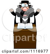 Vector Cartoon Excited Rabbi At The Pulpit Royalty Free Clipart Graphic