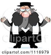 Vector Cartoon Careless Shrugging Rabbi Royalty Free Clipart Graphic