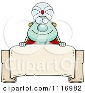 Vector Cartoon Chubby Green Genie Over A Banner Royalty Free Clipart Graphic