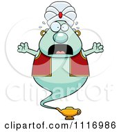 Vector Cartoon Frightened Chubby Green Genie Royalty Free Clipart Graphic