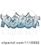 Vector Cartoon The Word Robot With Happy Faces Royalty Free Clipart Graphic