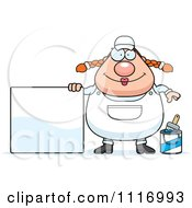 Vector Cartoon Female House Painter Worker With A Sign Royalty Free Clipart Graphic
