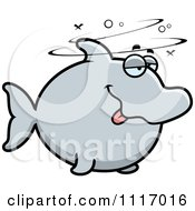 Vector Cartoon Drunk Dolphin Royalty Free Clipart Graphic