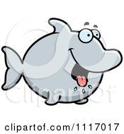 Vector Cartoon Hungry Dolphin Royalty Free Clipart Graphic