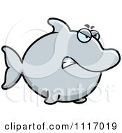 Vector Cartoon Angry Dolphin Royalty Free Clipart Graphic