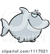 Vector Cartoon Sly Dolphin Royalty Free Clipart Graphic