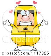Vector Cartoon Loving Hazmat Hazardous Materials Removal Worker Royalty Free Clipart Graphic