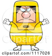 Vector Cartoon Angry Hazmat Hazardous Materials Removal Worker Royalty Free Clipart Graphic