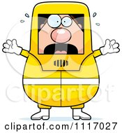 Vector Cartoon Panicking Hazmat Hazardous Materials Removal Worker Royalty Free Clipart Graphic