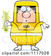 Vector Cartoon Nervous Hazmat Hazardous Materials Removal Worker Holding A Radioactive Rod Royalty Free Clipart Graphic