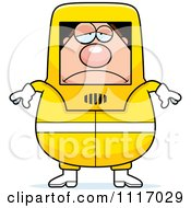 Vector Cartoon Depressed Hazmat Hazardous Materials Removal Worker Royalty Free Clipart Graphic
