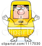 Vector Cartoon Careless Shrugging Hazmat Hazardous Materials Removal Worker Royalty Free Clipart Graphic