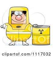 Hazmat Hazardous Materials Removal Worker With A Drum