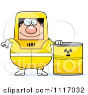 Vector Cartoon Hazmat Hazardous Materials Removal Worker With A Drum Royalty Free Clipart Graphic