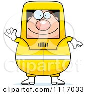 Vector Cartoon Waving Hazmat Hazardous Materials Removal Worker Royalty Free Clipart Graphic