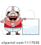 Vector Cartoon Of A Chubby White Football Player With A Sign Royalty Free Clipart Graphic