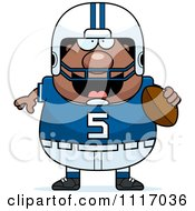 Vector Cartoon Of A Chubby Black Football Player Royalty Free Clipart Graphic