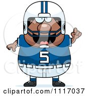 Vector Cartoon Of A Chubby Black Football Player With An Idea Royalty Free Clipart Graphic