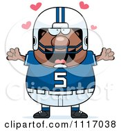 Vector Cartoon Of A Amorous Chubby Black Football Player Royalty Free Clipart Graphic