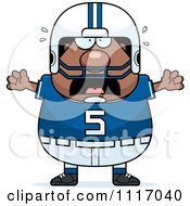 Vector Cartoon Of A Stressed Chubby Black Football Player Royalty Free Clipart Graphic